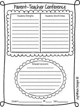 Parent-Teacher Conference Form FREEBIE
