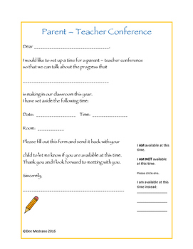 Parent Teacher Conference Form