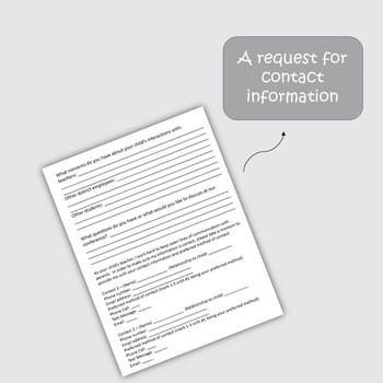 100% EDITABLE Parent Teacher Conference Form