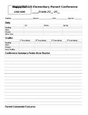 Parent - Teacher Conference Form