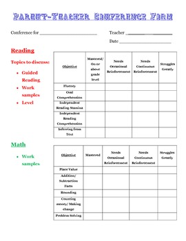 Parent-Teacher Conference Form- 3rd Grade- FREEBIE!