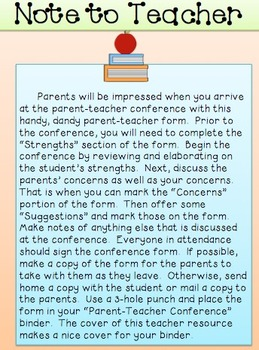 Parent-Teacher Conference Form:  A Must-Have