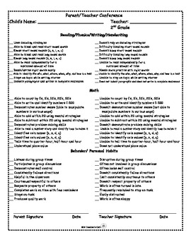 Parent-Teacher Conference Form- CCSS Goals (For B-O-Y, M-O-Y, E-O-Y, RTI)