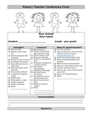 Parent Teacher Conference Form-Can Be Edited