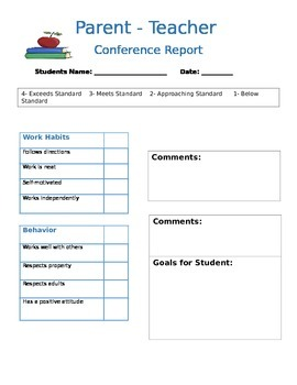 Parent Teacher Conference Form -Editable