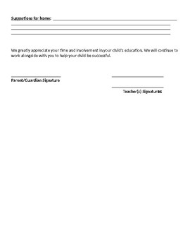Parent/Teacher Conference Form (English/Spanish)