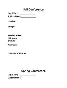 Parent Teacher Conference Form Fall/Spring