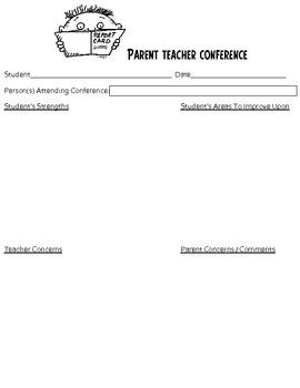 Parent Teacher Conference Form For Organizational Purposes