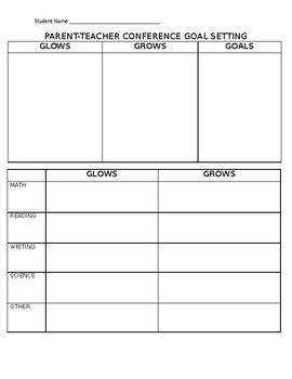 Parent-Teacher Conference Form - Grows and Glows