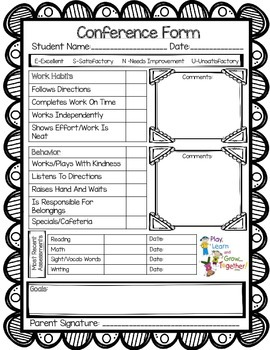 Free! Parent/Teacher Conference Form-Keep all your talking points organized!