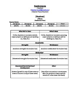 Parent Teacher Conference Form - Middle and High School