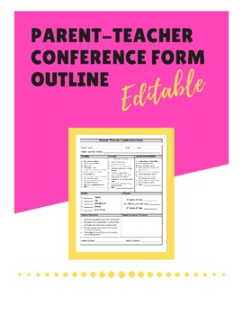 graphic relating to Printable Parent Teacher Conference Forms named Dad or mum Trainer Convention Kind Determine - (Editable)