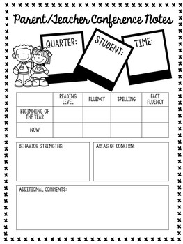 Parent Teacher Conference Forms - Parent Letters, Teacher Note Pages, and more!