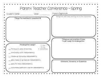 Preschool Parent Teacher Conference Form Spring