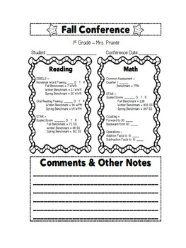 Parent Teacher Conference Form (completely editable!)