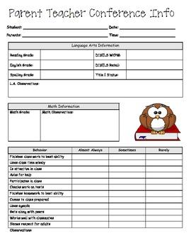 Parent Teacher Conference Form for Academics and Behavior