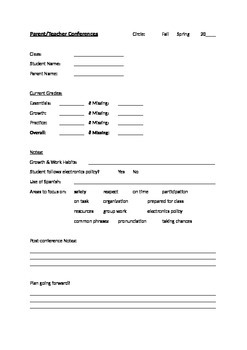 Parent-Teacher Conference Form for Foreign Language Teachers