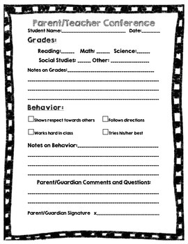 Parent/Teacher Conference Forms
