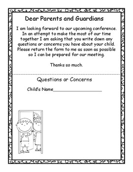 Parent Teacher Conference Forms, Conference Documentation, Student Action Plans