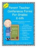Parent Teacher Conference Forms, Conference Documentation, Student Action Plans