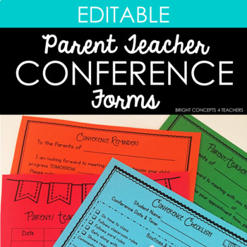 Parent Teacher Conference Forms {EDITABLE}