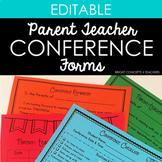 Parent Teacher Conference Forms {EDITABLE} / Parent Conferences