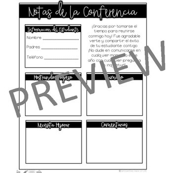 Parent Teacher Conference Forms ENGLISH AND SPANISH