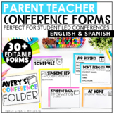 Parent Teacher Conference Forms Editable | Student Led Conferences | Spanish