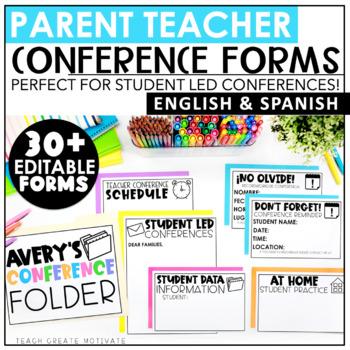 Parent Teacher Conference Forms Editable | Student Led Conferences | Spanish