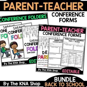 Parent Teacher Conference Forms | Folder Covers and More | Editable | Bundle
