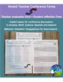 Parent Teacher Conference Forms - 4 versions of form + Stu