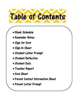 Parent Teacher Conference Forms & Student Reflections