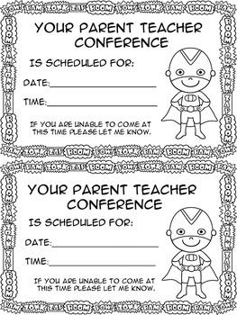 Parent Teacher Conference Forms Super Hero Theme