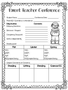 Parent Teacher Conference Forms - (mCLASS included)