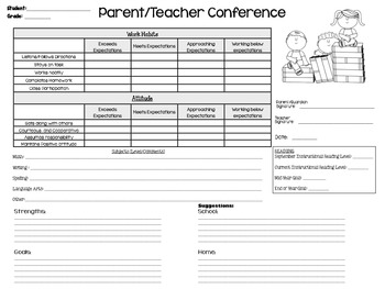 parent teacher meeting report template - parent teacher conference forms with student reflection