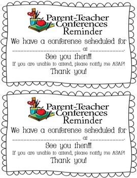 Parent Teacher Conference Forms/Reminder Letter