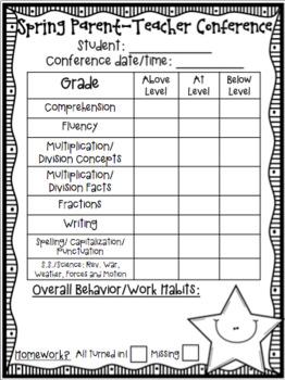 Parent Teacher Conference Freebie