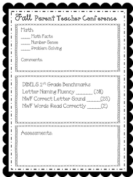 1st Grade Parent Teacher Conference PRINT and Go Forms