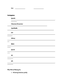 Parent-Teacher Conference Info Sheet
