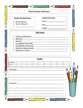 Parent Teacher Conference Information Sheet