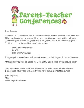 Parent Teacher Conference Invite