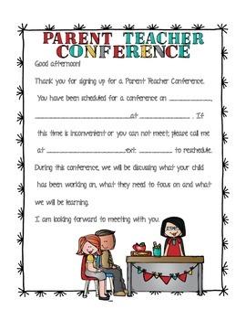 Parent Teacher Conference Letter Worksheets & Teaching
