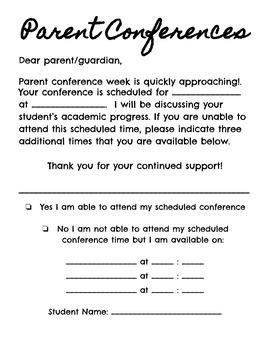 Parent Teacher Conference Letter and Reminder