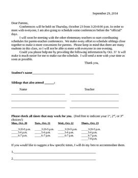 Parent Teacher Conference Letter to Parents