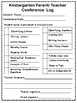 Parent/ Teacher Conference Checklist of Skills for Kindergarten
