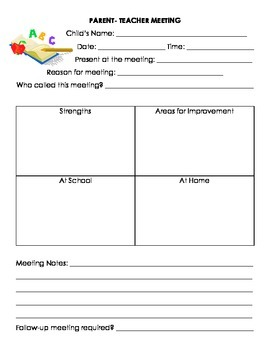 Parent Teacher Conference/ Meeting Template