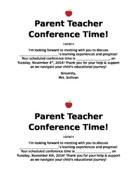 Parent-Teacher Conference Note