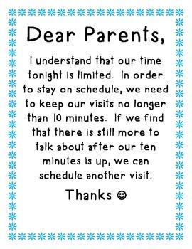 Parent Teacher Conference Note