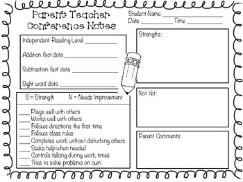 Parent Teacher Conference Note Form