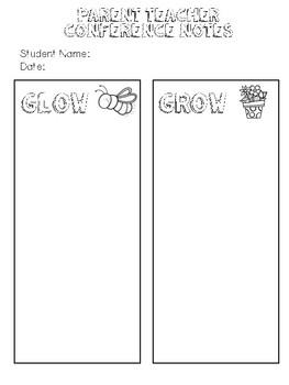 Parent Teacher Conference Note Planning Form